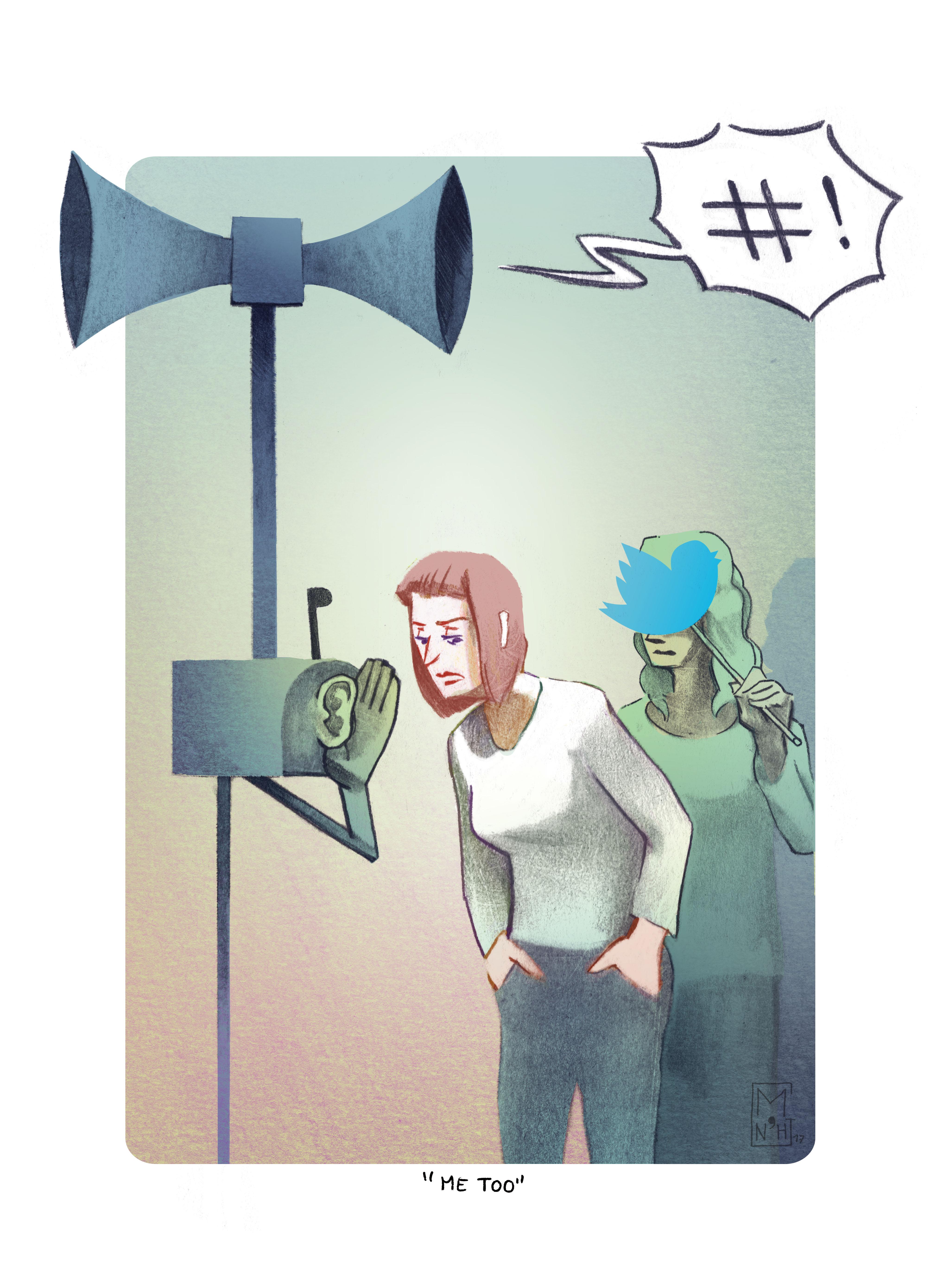 Illustration de presse, actualité politique, tweeter et féminisme.